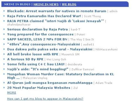 Malaysiakini in blogs 21 June 2008