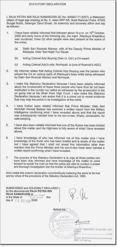 RPK Statutory Declaration