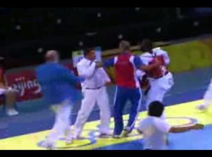 Angel Matos Kick Referee
