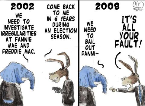 Democrats Fannie Mae Freddie Mac cartoon