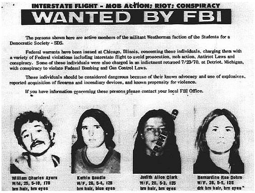 Bill Ayers Bernadine Dohrn FBI Wanted Poster