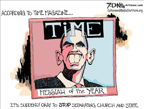 Obama Liberal Messiah God cartoon
