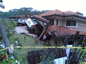 House eat car landslide