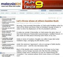 Throw shoes at not at Bush