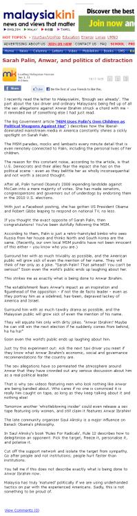 Sarah Palin Anwar Ibrahim Saul Alinsky