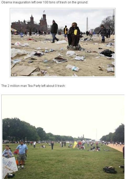 Obama Inauguration vs Tea Party trash